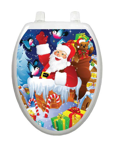 Santa on Roof Toilet Tattoos - Window Film World