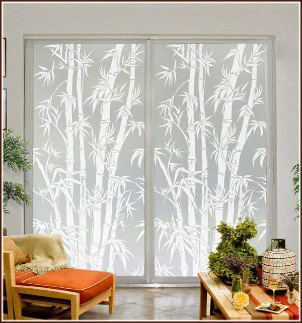 Big Bamboo Privacy Window Film Frosted Tropical