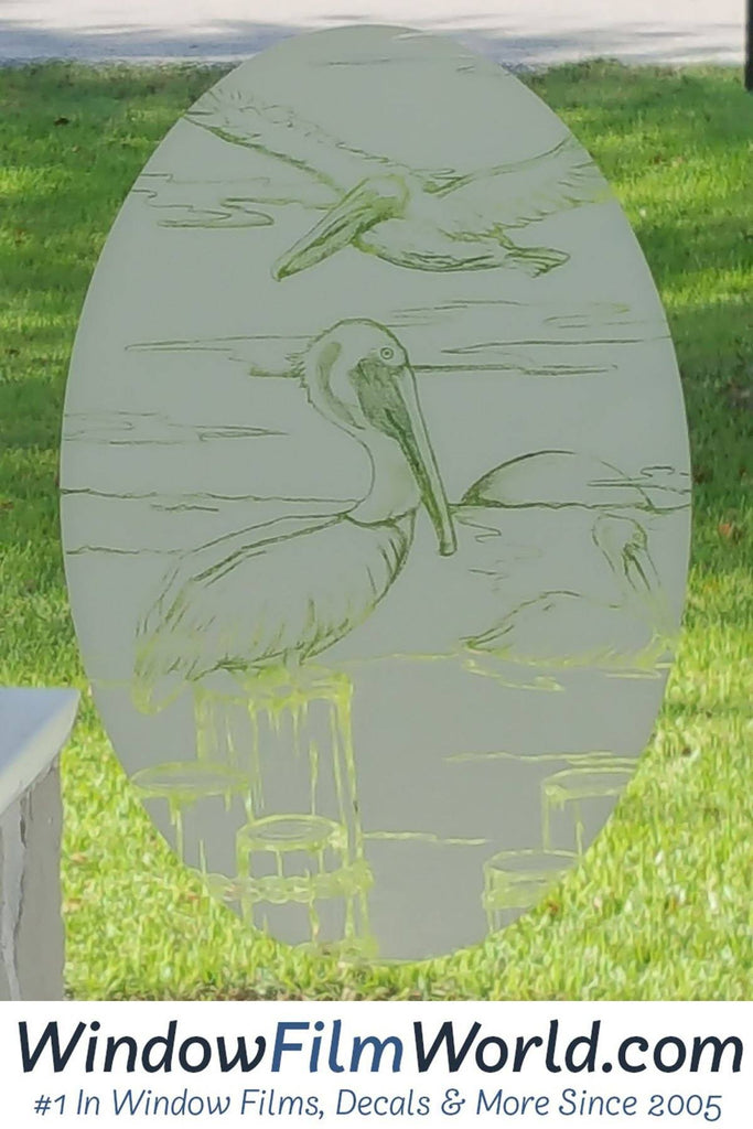 Etched Glass Decal Static Cling Decals Pelican Decal