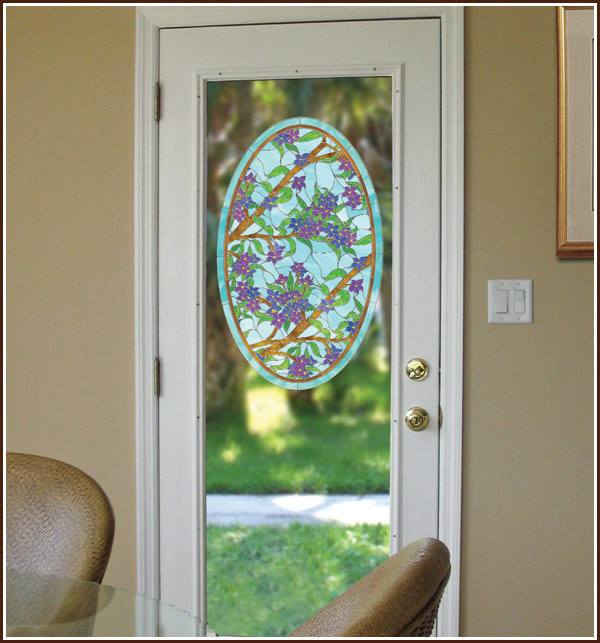 Biscayne | Stained Glass Privacy Oval (Static Cling) - Window Film World
