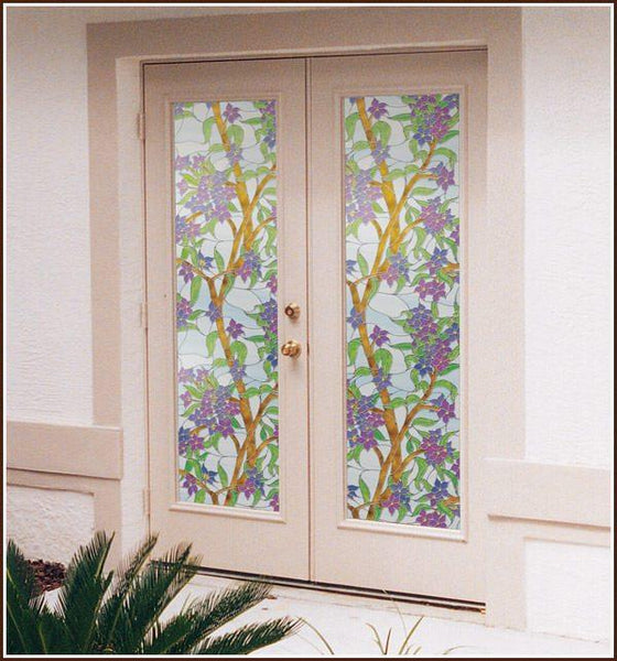 Biscayne Static Cling Stained Glass Privacy Window Film