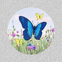 "Round Blue Butterfly Screen Door Magnets (5.75"" x 5.75"") - Window Film World"