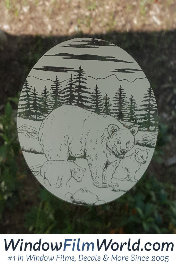 Oval Static Cling Bear Etched Decals Frosted Glass Sticker