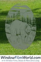 Oval Bear Etched Glass Decal | (Static Cling) - Window Film World