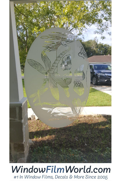 Oval Dragonfly Scene | (Static Cling) - Window Film World