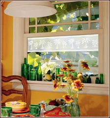 Etched Glass Palm Tree Window Film - Window Film World