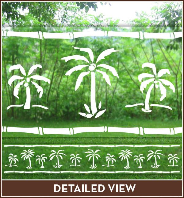 Palm Tree Etched Glass Frost Or Clear Static Cling