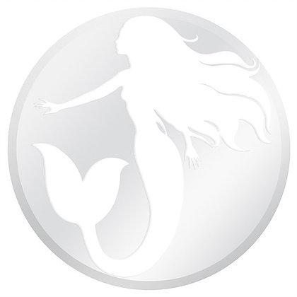 "White and Clear Mermaid Glass Door Decal (5.75"" x 5.75"") - Window Film World"