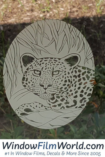 Oval Static Cling Leopard Etched Decals Frosted Glass