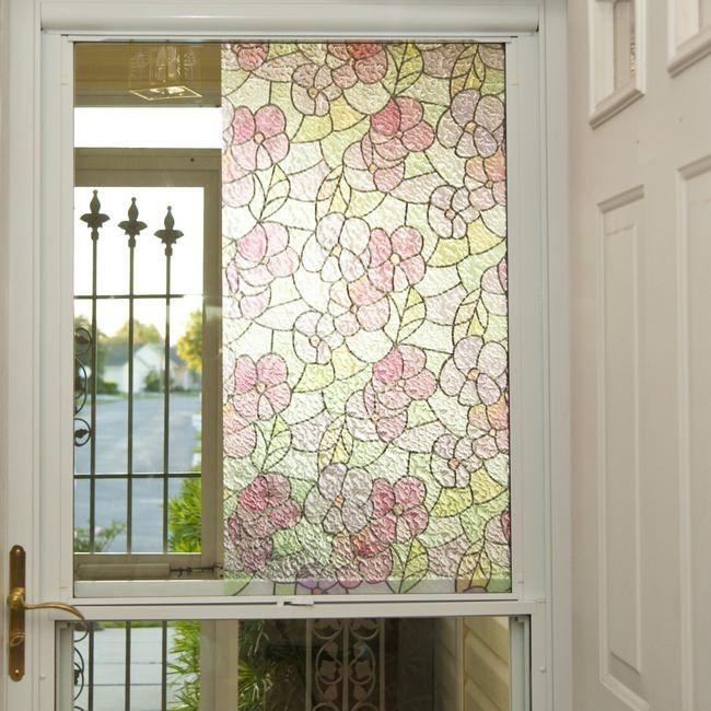 Privacy Window Film Floral Stained Glass Static Cling Vinyl Film