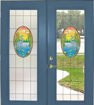Lost Lake Stained Glass Door Film - Privacy or See Through - Window Film World