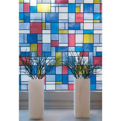 Mondrian Stained Glass | Privacy (Adhesive) - Window Film World
