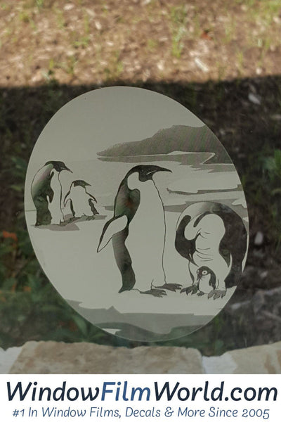 Oval Penguin Etched Glass Decal Static Cling