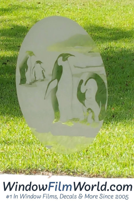 "4"" x 6"" Oval Penguin Etched Glass Decal 