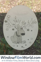 Oval Reindeer Trouble | Static Cling - Window Film World
