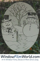Oval Snow Couple  | (Static Cling ) - Window Film World
