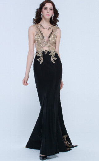 2015 Beautiful Sexy Long Prom Dresses Black Party Gowns With Gold Appliques Beading SBS216