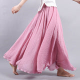 14 Colors Summer Long Skirt Womens 2017 Bohemian Brand Circel Cotton Maxi Falda Elastic Waist A-Linen Beach Ankle-Length Skirt