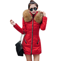 2016 Autumn & Winter Women Parka Outerwear Duck Down Jacket With Large Fur Collar Plus Size S - XXXL Thickening Long Coat