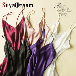 100% pure silk nightgowns women Sexy V neck sleepwear Home dresses SILK nightdress SATIN nightie Summer style pink white black