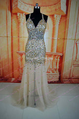 2015 Hot Selling New Arrives Mermaid Vestido Formatura Full Beaded Crystal Long Evening Gown Party Dress Gold Prom Dresses