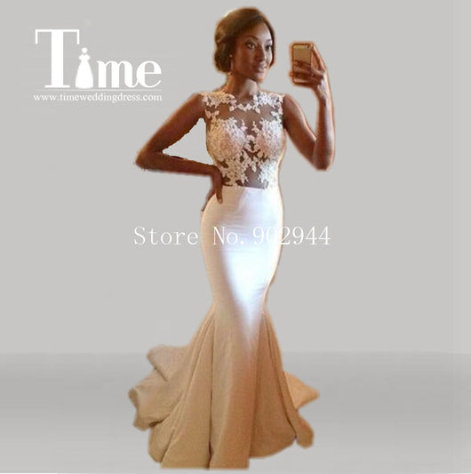 2014 Hot sale custom made ivory mermaid prom dresses crew neckline applique lace court train sleeveless evening bridal gowns
