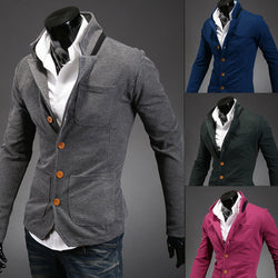 2015 new asymmetry spring autumn men's stand collar suit small color matching casual men blazer jacket