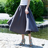 10 Solid Color New Long Skirts Womens 2017 Bohemian Casual Elastic Waist Linen Plus Size Circle Big Pendulum A Line Cotton Skirt