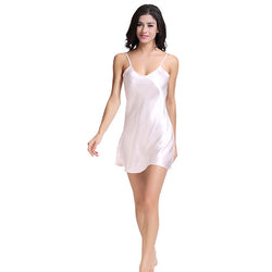100% Silk Nightgown Dress Pure Natural Silk Fabric For Women Nightwear Dress Solid SleepShirts Underwear Dress Free Size