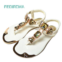 (35-42 yards) free shipping 2017 new summer sandals rhinestone thong sandals women sandals large size metal head