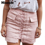 12 Colors Lace Up Faux Leather Sude Bandage Skirt 90's Vintage Pocket Casual Short Skirt 2016 Winter High Waist Women Skirts