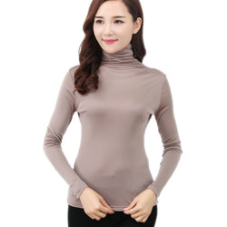100% Pure Silk 2016 New Autumn Basic Women Long Sleeve Turn-Down Collar Casual Tees T Shirt Tops Female Plus Size L XXXL T-shirt