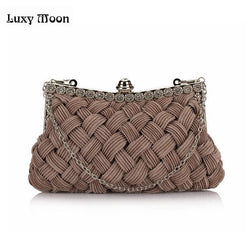 2014 knitted diamond women's day clutch Hot evening bag bride clutch with Chains tote party bag for evening dress