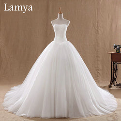 0.8M Court Train Wedding Dress 2016 Cheap Celebrity Strapless Vintage Tulle Bridal Ball Gown Organza Lace bridal dresses D-14018