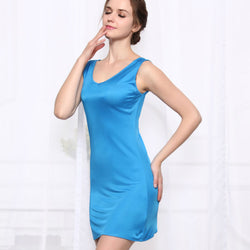 100%REAL SILK  women sleep dress solid basic slip dress V neck FULL slips sleeveless new underwear BLUE WHITE BLACK NUDE