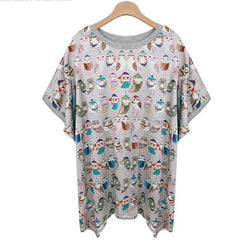 2015 New Style Cartoon Owl Printed Women's T-shirts/Brand Summer Oversize Short Sleeve T-shirts Women/Casual Women Clothing 5XL