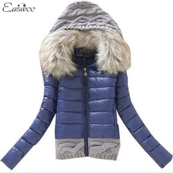 1PC 2016 Women Winter Coat Cotton Padded Jacket Short Knitted Hood Fur Collar Womens Winter Jackets and Coats BB0006