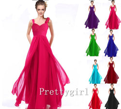 0010 Bride maid two shoulder coral burgundy purple blue black colored chiffon long bridemaids party gown bridesmaid dresses