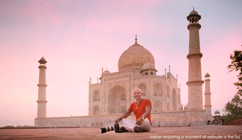Jasper Johal enjoying a moment of solitude at the Taj Mahal