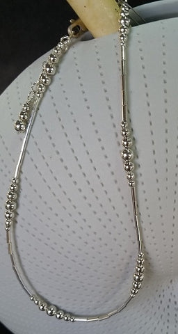 Tube & Ball Anklet (Sterling Silver)