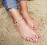 Metallic Gray Beaded Anklet (Sterling Silver & 14K Gold-Fill)