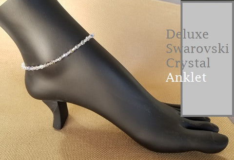 Deluxe Aaurora Borealis (AB)Clear Swarovski Crystal Anklet