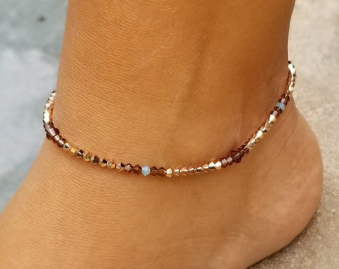 Beaded Rose Gold w/ Pacific Opal Swarovski™ Crystals - Anklet