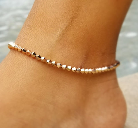 Beaded Rose Gold Swarovski™ Crystals - Anklet