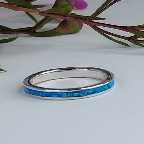 Blue Opal Channel Ring