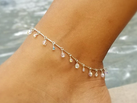 Deluxe Drop Anklet - AB Crystals (aurora borealis)