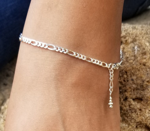 Heavy Figaro Anklet (Sterling Silver)