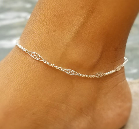 """New"" Filigree Anklet / Sterling Silver"