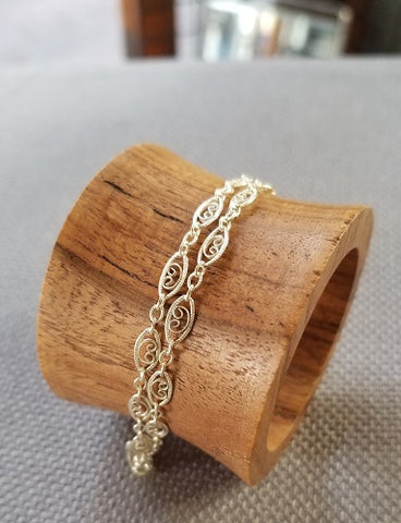 """Old"" Classic Filigree Anklet / Sterling Silver"
