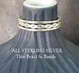 Braid & Bands - Thin - Choose Sterling Silver & 14K Gold-Fill
